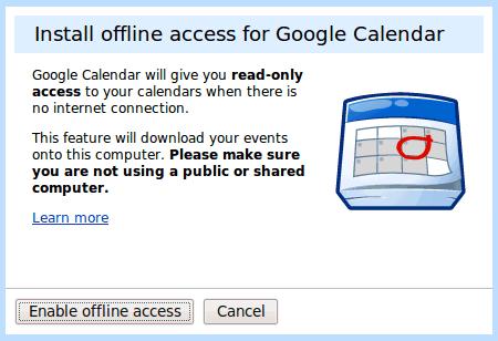 Google Calender Offline