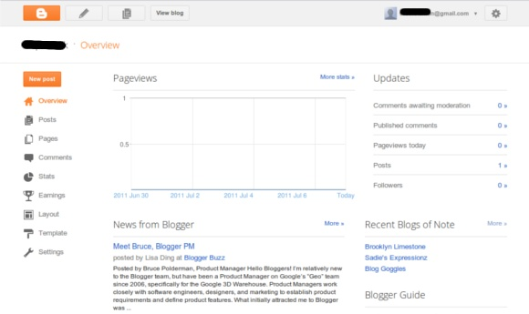 Antaramuka Baru Blogger