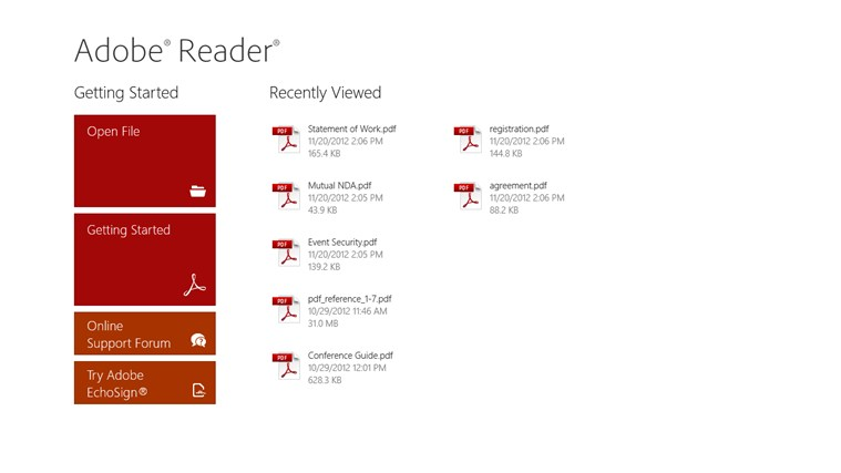 Adobe Reader untuk Windows 8