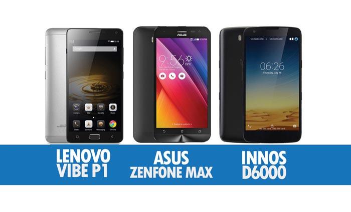 Perbandingan Peranti Berbateri Gergasi Lenovo P1, Asus Zenfone Max & Innos D6000