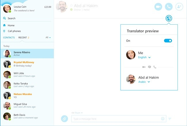 Skype Translator Arab