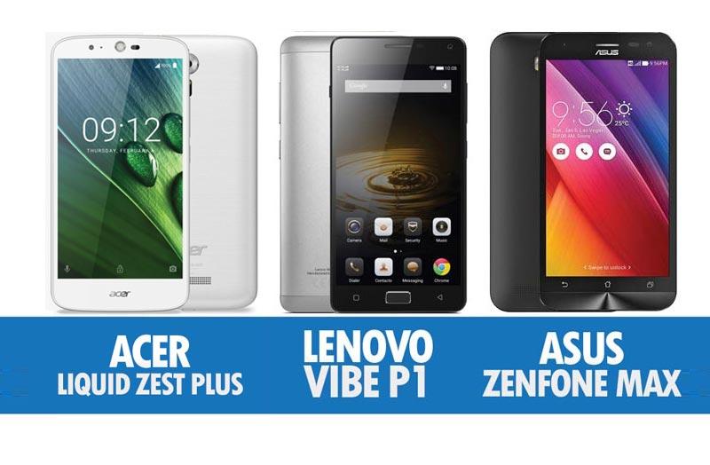 Perbandingan Peranti Dengan Bateri Gergasi Acer Liquid Zest Plus, Lenovo Vibe P1 & Asus Zenfone Max