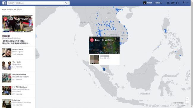 how to navigate facebook live map