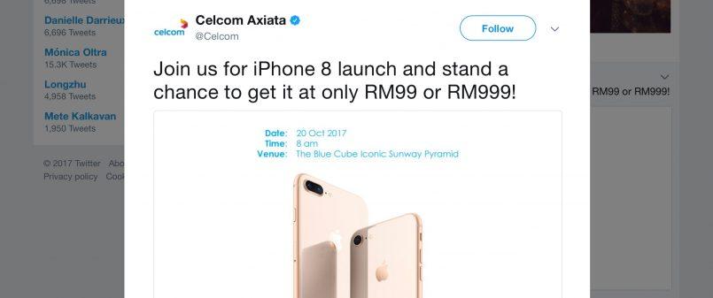 Celcom Menawarkan iPhone 8 Serendah RM 99 Pada Pelancarannya 20 Oktober Ini