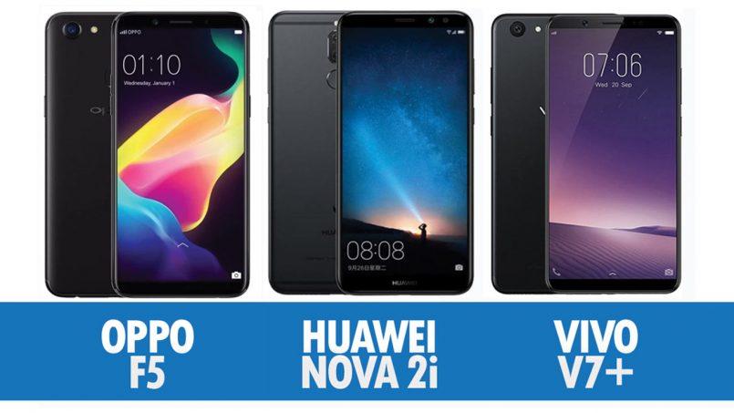 Perbandingan Oppo F5, Huawei Nova 2i Dan Vivo V7+
