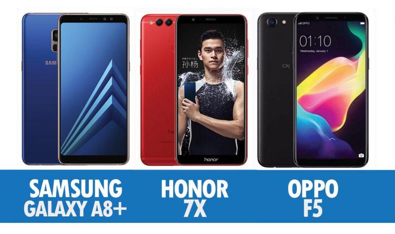 Perbandingan Samsung Galaxy A8+, Honor 7X Dan Oppo F5