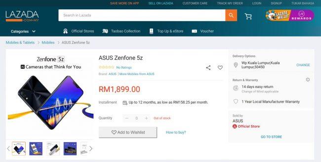 Asus Zenfone 5z Lazada