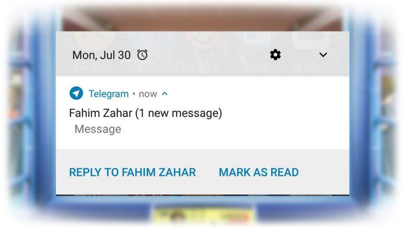 """Telegram Kini Mempunyai Fungsi """"Mark As Read"""" Untuk Notifikasi Android"""