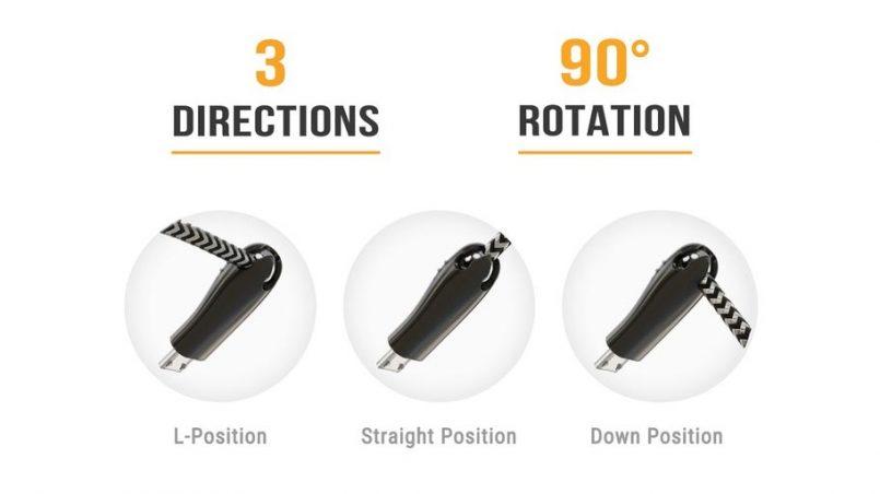 Kabel Pengecas USB93 Mempunyai Kepala Berputar Bagi Menyelesaikan Masalah Wayar Mudah Terkoyak