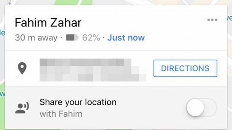 Perkongsian Lokasi Dalam Google Maps Kini Memaparkan Status Bateri Rakan