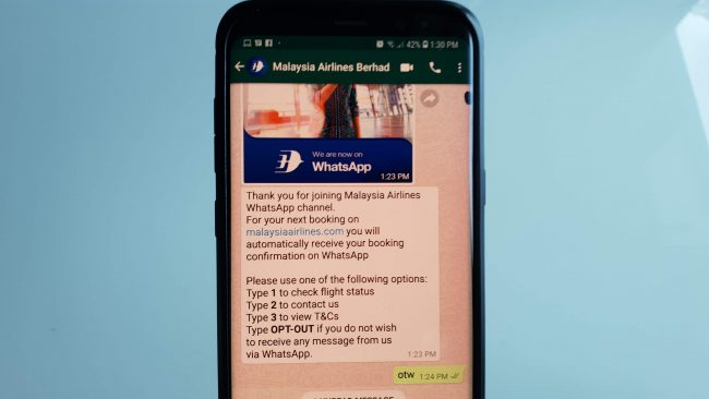 Malaysia Airlines WhatsApp