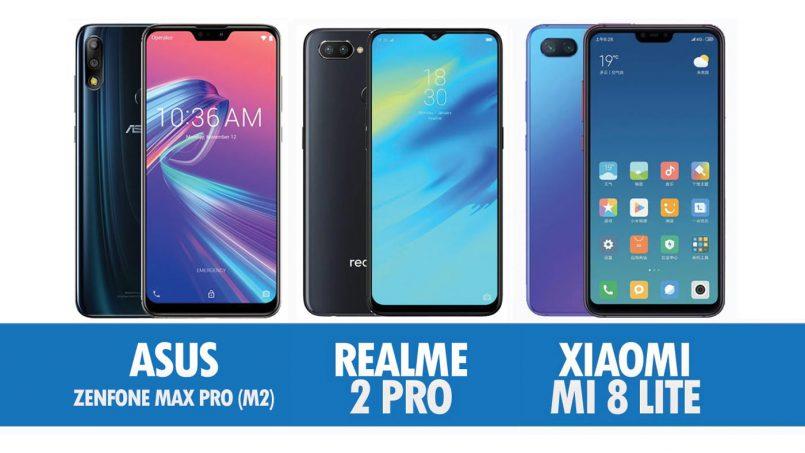 Perbandingan Asus Zenfone Max Pro (M2), Realme 2 Pro Dan Xiaomi Mi 8 Lite