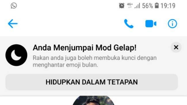 Facebook Messenger Tema Gelap