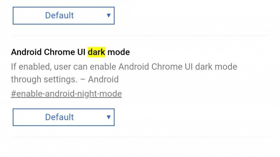 Chrome Android Dark Mode