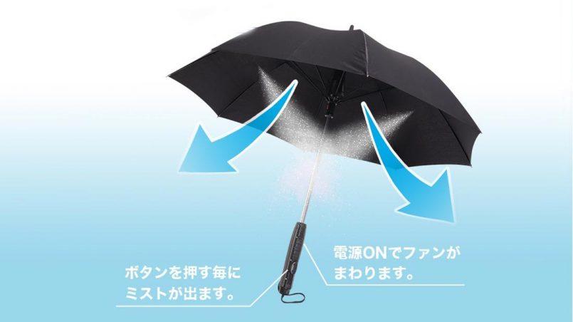 Payung Dengan Kipas Dan Penyembur Air Dihasilkan Untuk Musim Panas Melampau