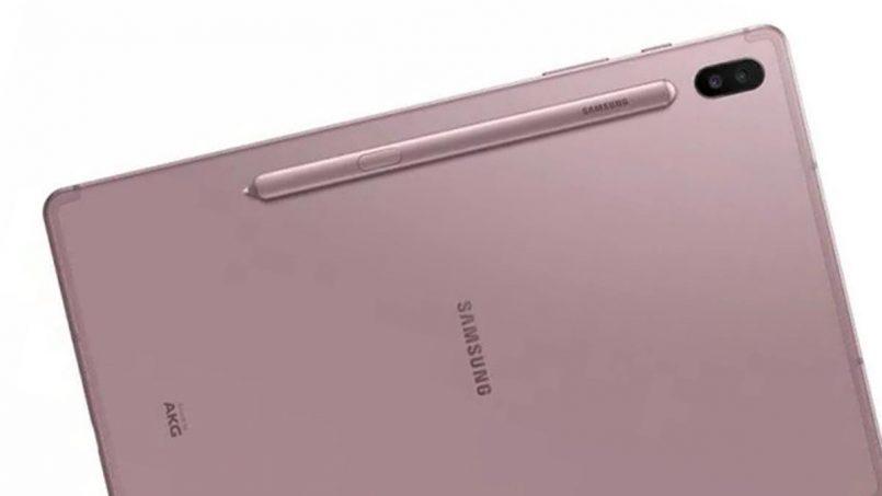Imej Pengolokkan Samsung Galaxy Tab S6 Tertiris Dengan Stylus Yang Melekat Secara Magnetik