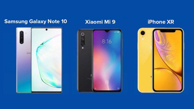 Perbandingan Samsung Galaxy Note 10, Xiaomi Mi 9 Dan iPhone XR