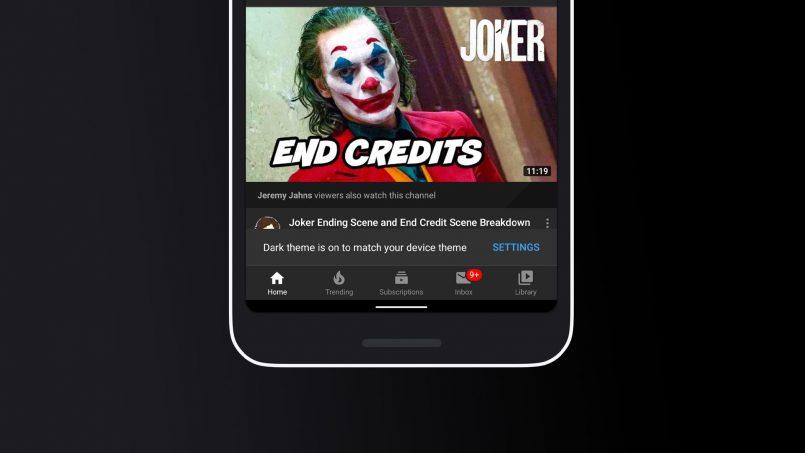 Mod Tema Gelap Pada YouTube Kini Mengikut Tetapan Tema Pada Android 10