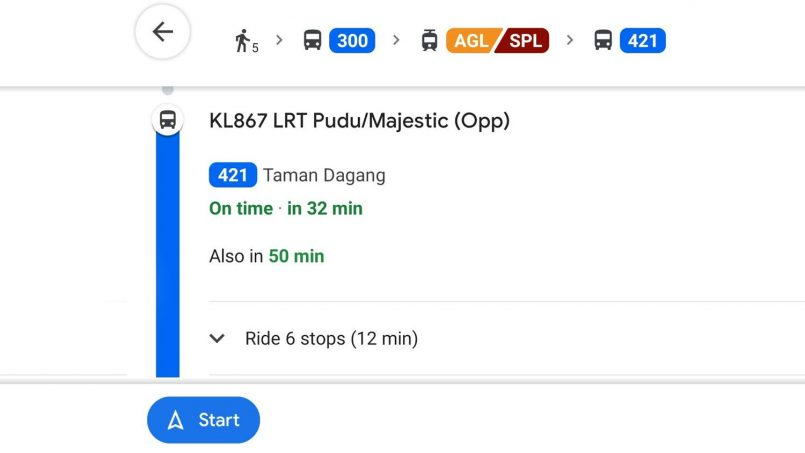 Google Maps Kini Menunjukan Waktu Menunggu Bas RapidKL Secara Masa Nyata