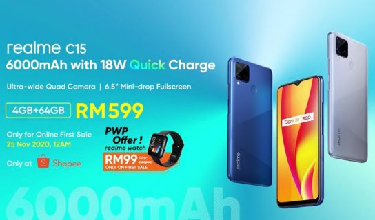 Realme C15 Kini Di Malaysia – Harga Bermula RM599