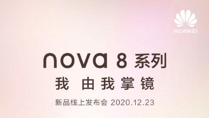 Siri Huawei Nova 8 Bakal Dilancarkan Pada 23 Disember Ini