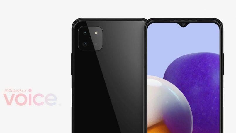 Imej Pengolokan Samsung Galaxy A22 5G Tertiris – Memperlihatkan Tiga Kamera Dibelakang