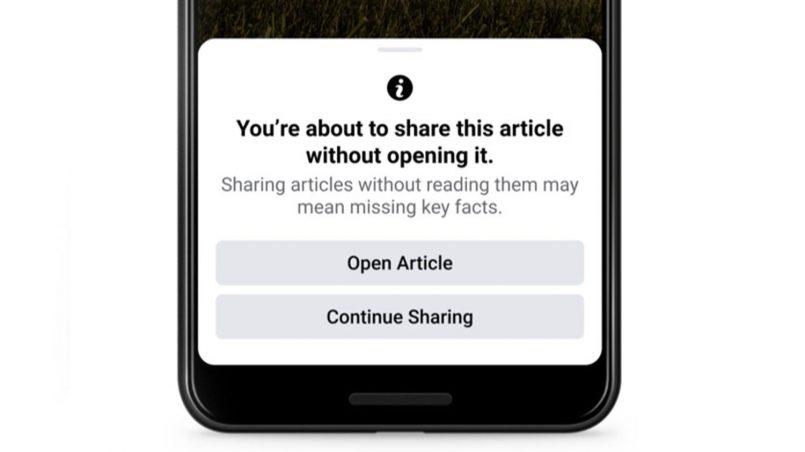 Facebook Menguji Ciri Menyuruh Artikel Dibaca Dahulu Sebelum Dikongsi