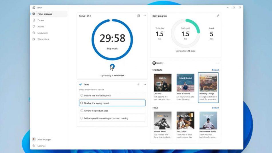 """Windows 11 Bakal Menyertakan Ciri """" Sesi Fokus Produktiviti"""" – Mengintegrasikan Spotify"""