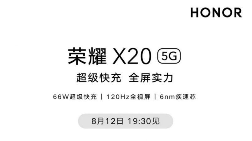 Honor X20 Akan Dilancarkan Di China Pada 12 Ogos 2021